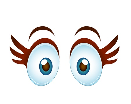 Surprised Cartoon Girl Eye Vector
