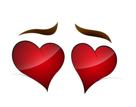 Heart Shape Cartoon Eye Illustration