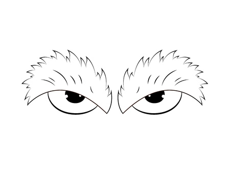 Outlined Angry Cartoon Eyes Vector