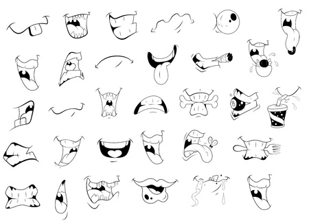 Cartoon Mouth Expressions Vector
