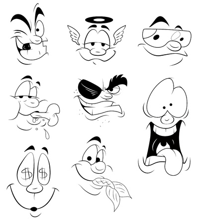 wealthy man: Cartoon Faces Expressions