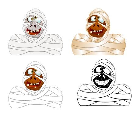 Set of Cartoon Mummy Vector