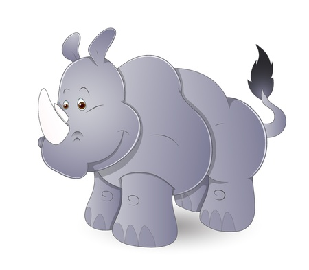 Cute Cartoon Rhinoceros Vector