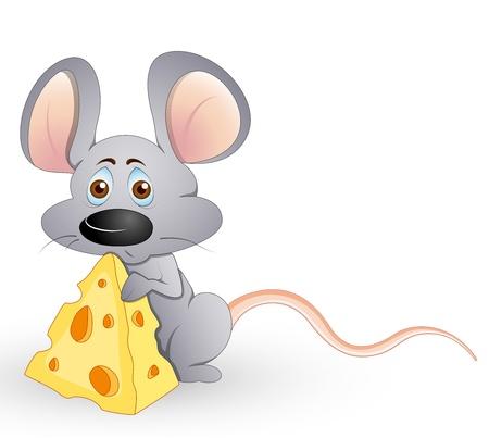 Cute Hungry Mouse Vektoros illusztráció