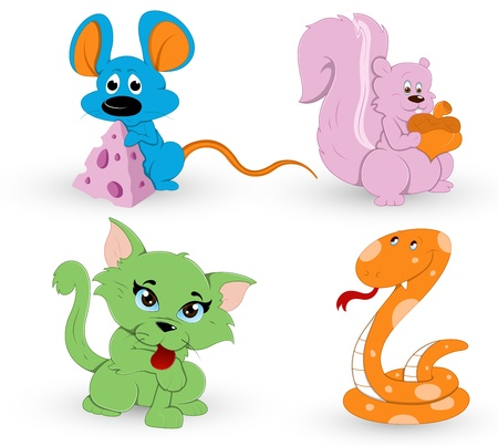 whisker characters: Cute Cartoon Animals Illustration