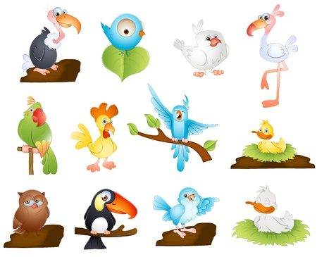 Cute Cartoon Birds Vector