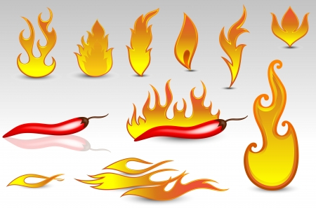 Fire Flames Vectors and Design Icons Stock Vector - 15142742