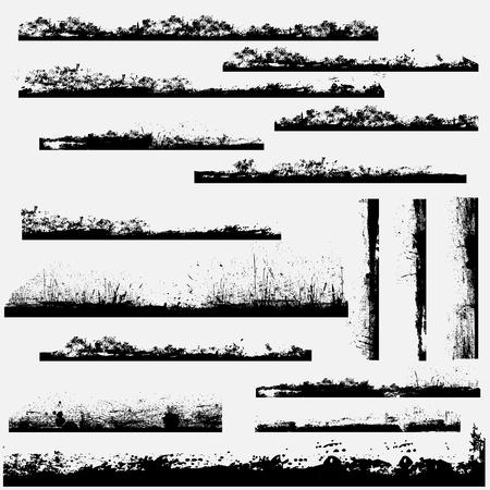 s�parateurs: Grunge contours du bloc et la bordure de page Illustration