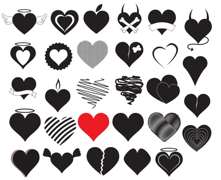 angel and devil: Heart Vectors