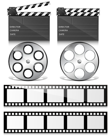 cinema strip: Clap Board and Film Reel Vectors