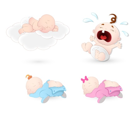 baby cry: Babies Vectors Illustration