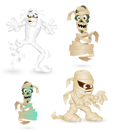 egyptian mummy: Mummy Vector Characters Illustration