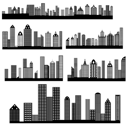 skylines: Retro Skylines Cityscapes Vectors