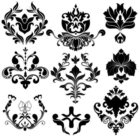 damasco: Vintage Damask Elementos vectoriales Vectores