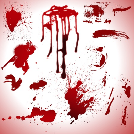 Blood Drops and Stains Vectors Illustration