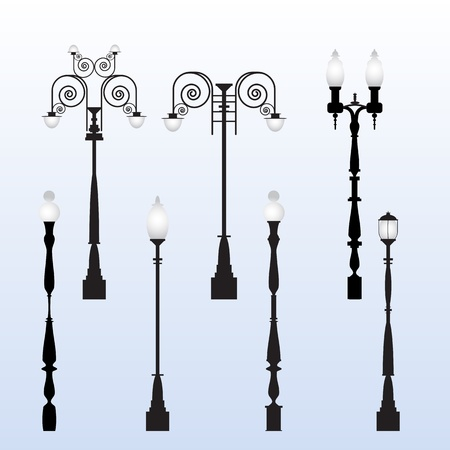 victorian house: Street Light Vectors