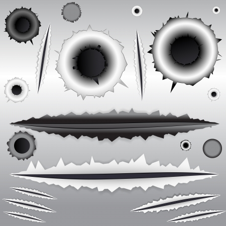 ripped metal: Bullet and Scratches Vectors Illustration