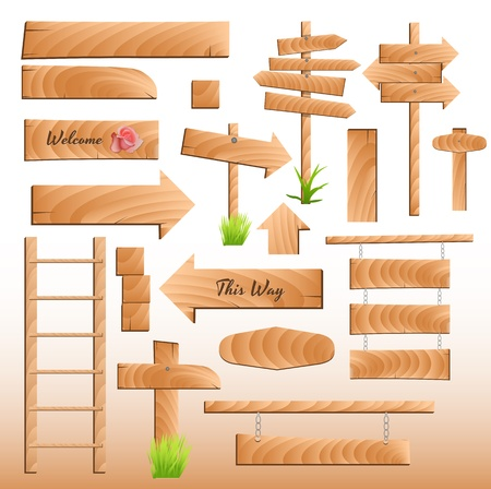 Wooden Banners and Elements Vectors Illustration