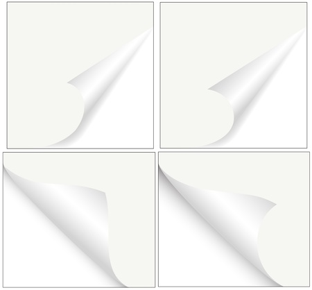 papier pli�: Le papier tuil� vectorielle Corners