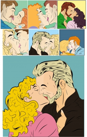 Retro Comic Kiss Love Vectors Vector