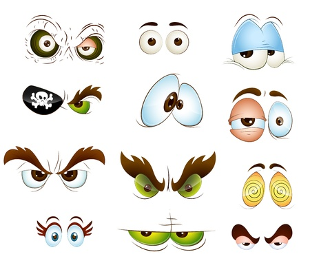 ojos caricatura: Cartoon Eyes Vectores