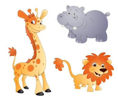 cartoon hippo: Animals Vectors - Lion, Giraffe and Rhino
