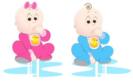 Girl and Boy Baby Child Vectors Vector