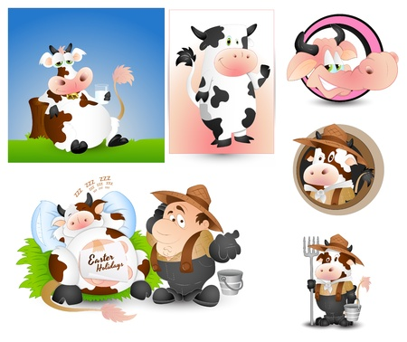 milkman: Cow Milk and Milkman Vectors Illustration
