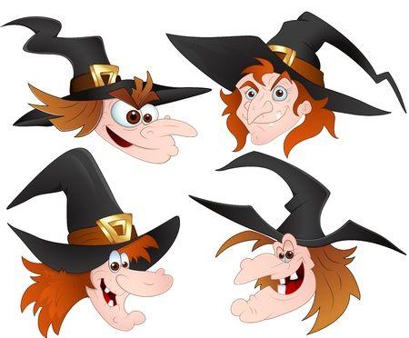 cartoon witch: Cartoon Witch Faces Vectors