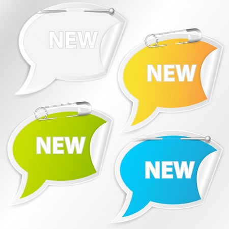 Speech Bubble Sticker Tags Vector