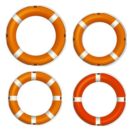 rubber tube: Lifebuoy Icons Vectors Illustration