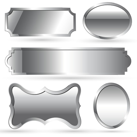 metallic banners: Chrome Style Tags and Labels