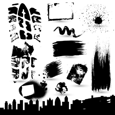 skylines: Grunge Strokes n Skylines Vectors Illustration