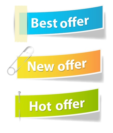 feedback sticker: Offer Sale and Info Banners Vectors