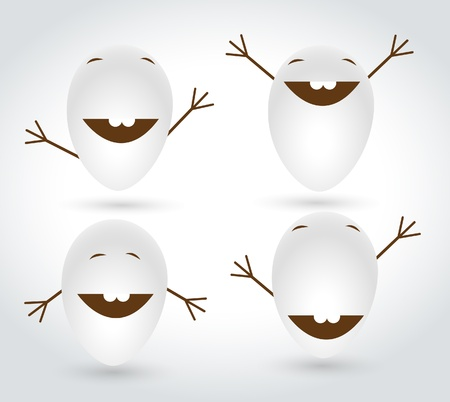Happy Eggs Character Vectors Vector