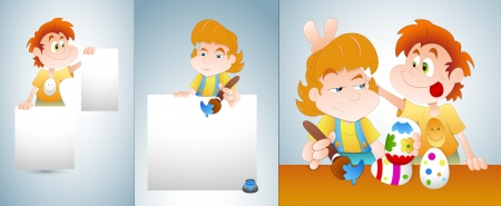 Kids Happy Easter Vectors Vector