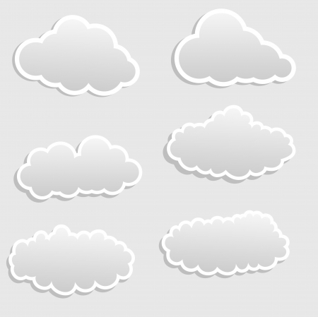 nubes caricatura: Cartoon Clouds vector stickers Vectores