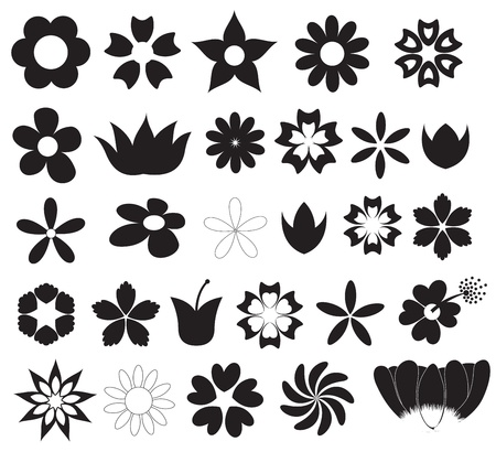 Flowers Silhouettes Shapes Vectors