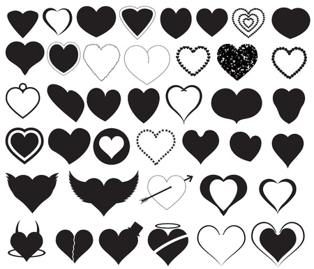 Hearts Silhouettes Vectors Stock Vector - 15244969