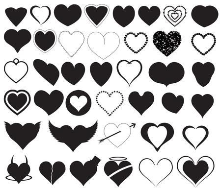 dangerous love: Hearts Silhouettes Vectors Illustration