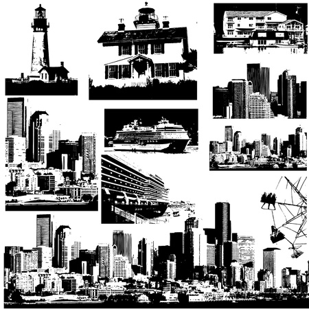Urban Buildings Vector Designs Vector
