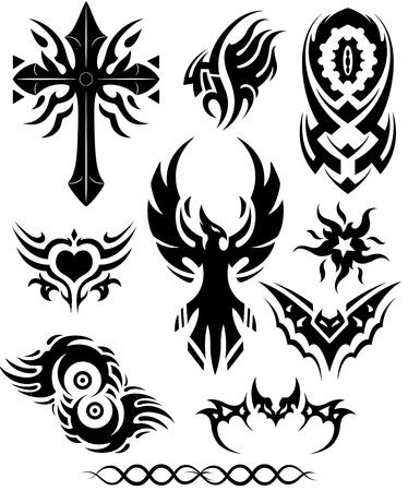 tatouage oiseau: Vecteurs de tatouage tribal Illustration