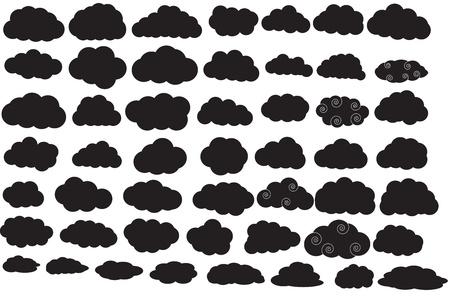 rainy sky: Nubes Silhouettes Vectores