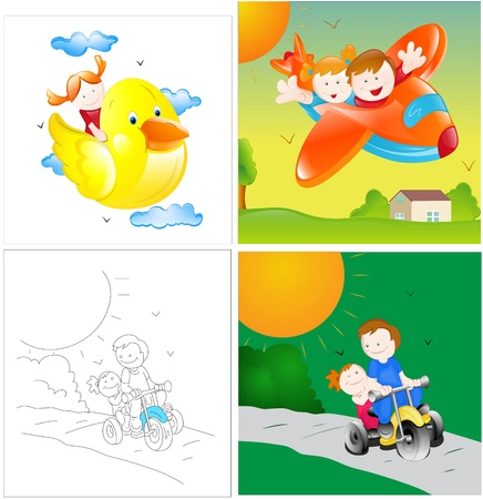 Kids Playing Vector Illustrations Stock Vector - 15245064