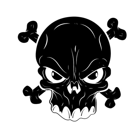 close up face: Skull Tattoo Vector Illustration
