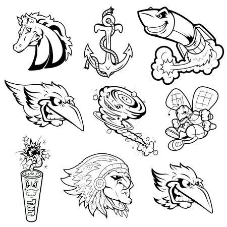 깜짝: 각종 마스코트 벡터 문자 문신