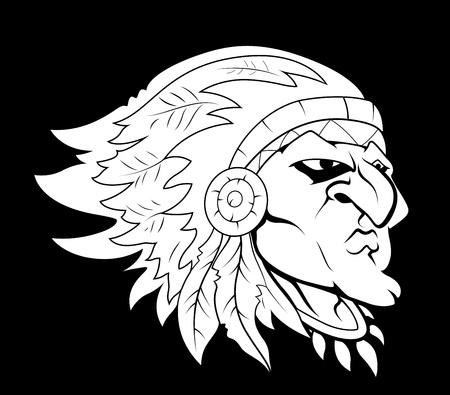 agression: Rouge caract�re indien Vecteur Mascot Illustration