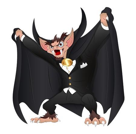 bad eyes: Scary Funny Dracula Vampire Cartoon Vector Illustration