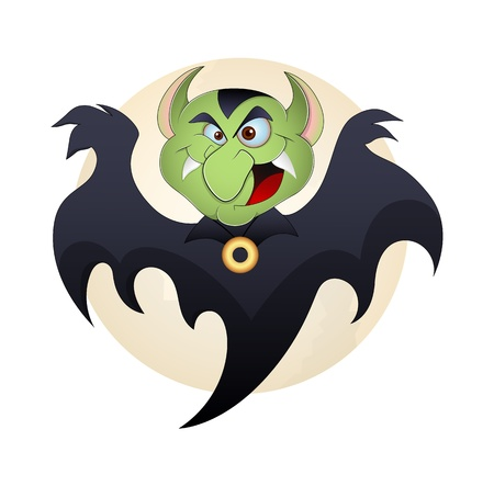 creepy monster: Vampire Vector Funny Cartoon Illustration