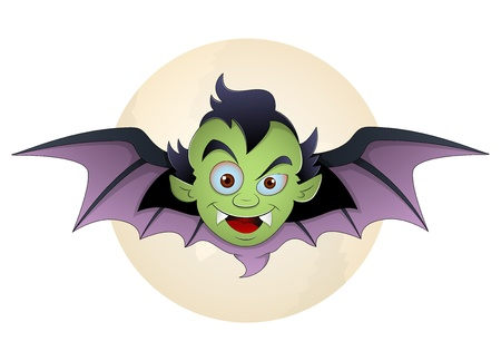 Vampire Face Bat Cartoon Vector Illustration Vector